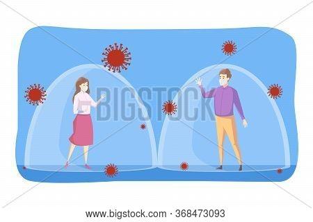 Coronavirus, Social Distancing, Infection, Protection Concept. Youn Man Boy Woman Girl Keeping Safe