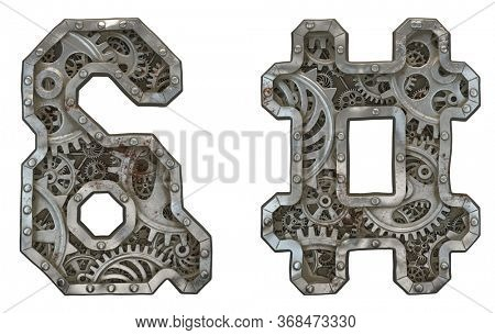 Set of mechanical alphabet made from rivet metal with gears on white background. Symbol ampersand and hash. 3D rendering