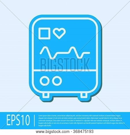 Blue Line Computer Monitor With Cardiogram Icon Isolated On Grey Background. Monitoring Icon. Ecg Mo
