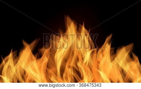 Fire Flames On Black Background, Flames Isolated