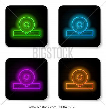 Glowing Neon Line Otolaryngological Head Reflector Icon Isolated On White Background. Equipment For