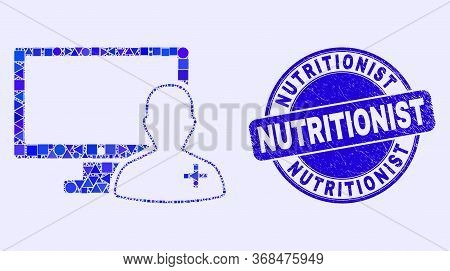 Geometric Online Doctor Mosaic Icon And Nutritionist Stamp. Blue Vector Round Grunge Stamp With Nutr