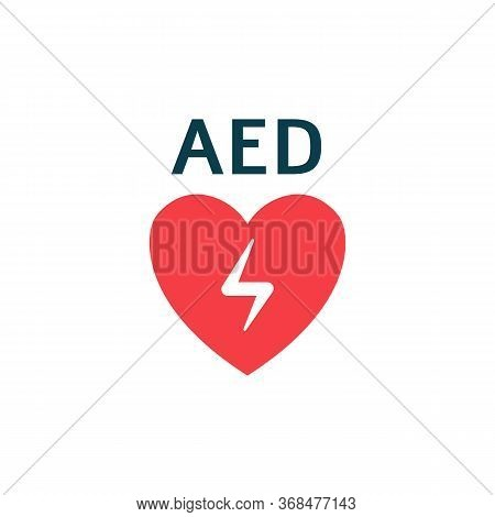 Isolated Flat Vector Illustration With Aed Heart And Automated External Defibrillator Concept.
