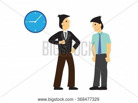 Angry Boss Complaining His Employee For Being Coming Late To Work. Employee Performance Or Punctuali