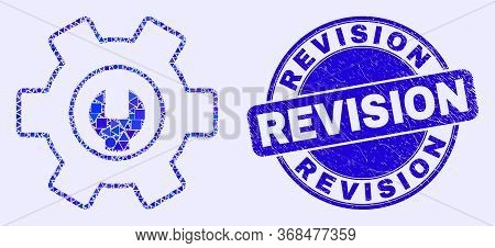 Geometric Repair Options Mosaic Pictogram And Revision Seal. Blue Vector Round Grunge Seal Stamp Wit