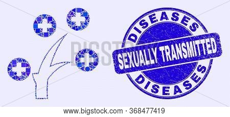 Geometric Medical Tree Mosaic Pictogram And Diseases Sexually Transmitted Stamp. Blue Vector Rounded