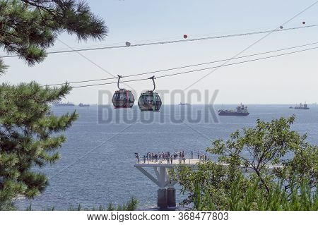 Busan, South Korea, September 14, 2019: View From Hillside On Moving Songdo Cable Cars And Seascape