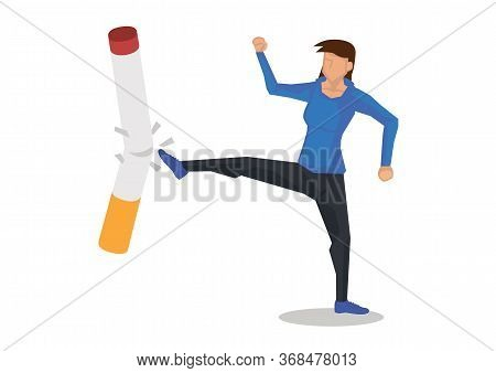 Woman Kicks Cigarette. Concept Of Quiting Smoking Or Tobacco Addiction. Vector Illustration.