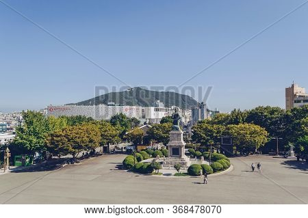 Busan, South Korea, September 14, 2019: View Of Cityscape From Yongdusan Park Square With Admiral Yi