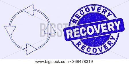 Geometric Ccw Circulation Arrows Mosaic Pictogram And Recovery Seal Stamp. Blue Vector Rounded Distr