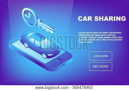Isometric Car Rental Concept. Selling, Leasing Or Renting Car Service. Vehicle Rental And Purchase.