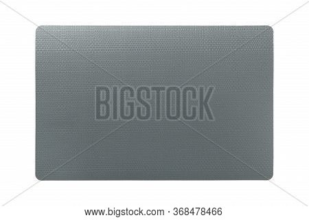Top View Of Isolated Black Placemat For Food. Empty Space For Your Design