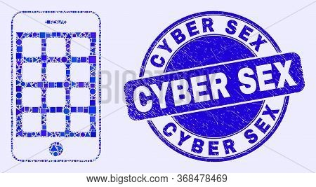 Geometric Mobile Phone Mosaic Icon And Cyber Sex Seal Stamp. Blue Vector Rounded Grunge Seal Stamp W