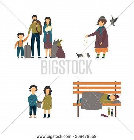 Homeless Cartoon People Set - Refugee Family, Beggar Children And Poor Adults