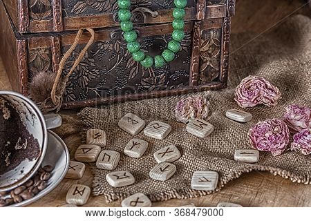 Isoteric Concept Of Divination And Prediction. Tarot Cards, Runes, Coffee Grounds In A Cup, Rosary,