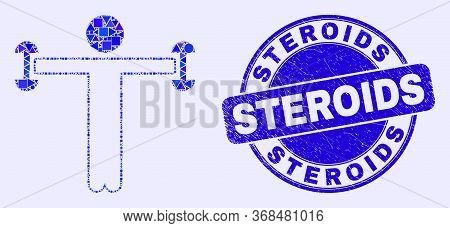 Geometric Fitness Person Mosaic Pictogram And Steroids Stamp. Blue Vector Round Distress Stamp With