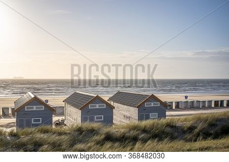 Empty Beach Houses Along The Shore And On The Beaches Are Empty.