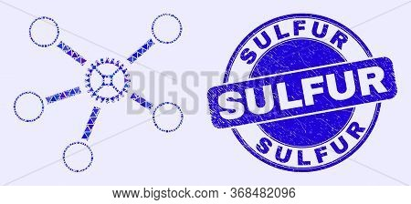 Geometric Gear Links Mosaic Icon And Sulfur Seal Stamp. Blue Vector Round Grunge Seal Stamp With Sul