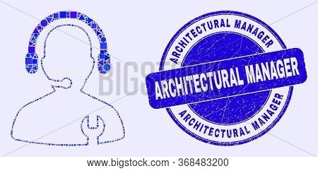 Geometric Repair Service Operator Mosaic Icon And Architectural Manager Watermark. Blue Vector Round