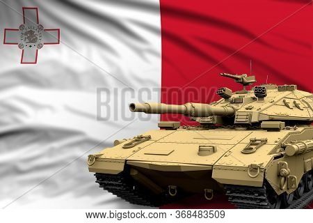 Heavy Tank With Fictional Design On Malta Flag Background - Modern Tank Army Forces Concept, Militar