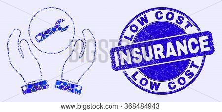 Geometric Wrench Repair Hands Mosaic Pictogram And Low Cost Insurance Watermark. Blue Vector Round S