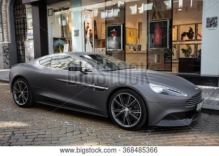 Sofia Bulgaria August 12, 2019 : Photoshoot Of Black Matte Aston Martin On Street. Aston Martin Vant