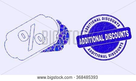 Geometric Percent Tags Mosaic Pictogram And Additional Discounts Seal Stamp. Blue Vector Rounded Dis
