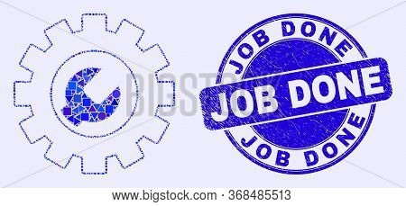 Geometric Setup Tools Mosaic Pictogram And Job Done Seal Stamp. Blue Vector Rounded Distress Seal Wi