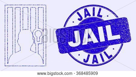 Geometric Jailed Person Mosaic Pictogram And Jail Seal Stamp. Blue Vector Rounded Scratched Seal Sta