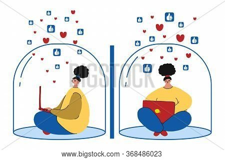 Two Girls Sits Inside A Transparent Glass Bubble And Works On A Laptop In Social Networks.the Concep