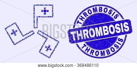 Geometric Medical Flags Mosaic Icon And Thrombosis Seal Stamp. Blue Vector Rounded Textured Seal Sta