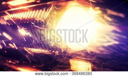 Old Fashioned Car Headlight Shines Under Heavy Snowfall. Stock Footage. Close Up Of Shining Headligh