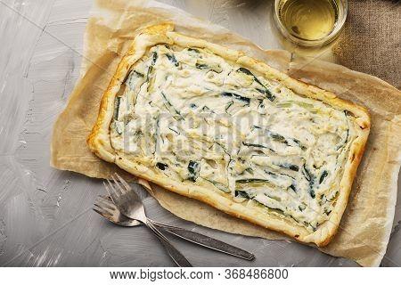 Homemade Tart With Ricotta And Zucchini