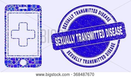 Geometric Medical Mobile App Mosaic Pictogram And Sexually Transmitted Disease Seal Stamp. Blue Vect