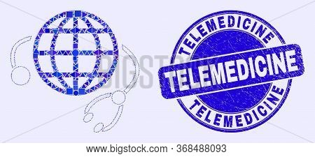 Geometric Global Medical Service Mosaic Pictogram And Telemedicine Watermark. Blue Vector Rounded Te