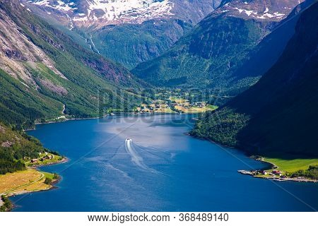 The Hjorundfjord And The Sunnmore Alps Near Trandal, More Og Romsdal, Norway.