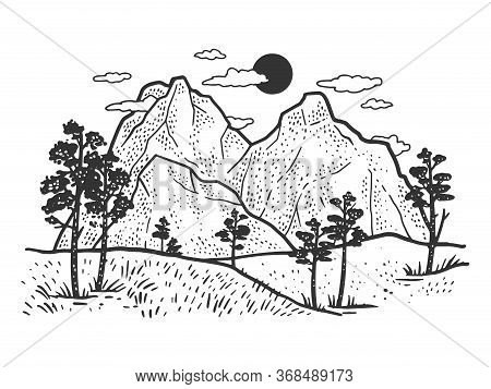 Mountain Landscape Sketch Engraving Vector Illustration. T-shirt Apparel Print Design. Scratch Board