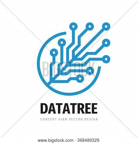 Digital Tree Logo Design. Computer Network Sign. Data Electronic Graphic Symbol. Internet Icon. Soft