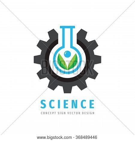 Science Logo Concept Design. Gear, Test Tube & Green Leaves Creative Logo Sign. Cogwheel & Flask Sym