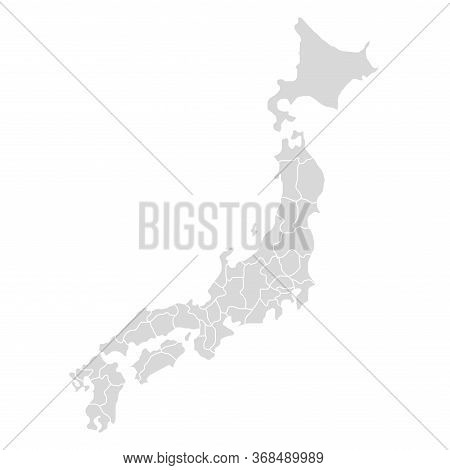Japan Vector Map Icon. Hokkaido Ai Detailed Country Map. Japan Asia Map Isolated