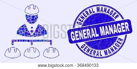 Geometric Engineer Hierarchy Mosaic Icon And General Manager Watermark. Blue Vector Rounded Distress