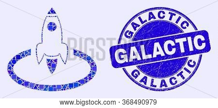 Geometric Rocket Start Mosaic Icon And Galactic Seal. Blue Vector Rounded Distress Seal Stamp With G
