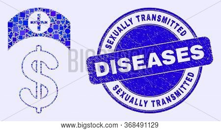 Geometric Medicine Price Mosaic Pictogram And Sexually Transmitted Diseases Seal Stamp. Blue Vector