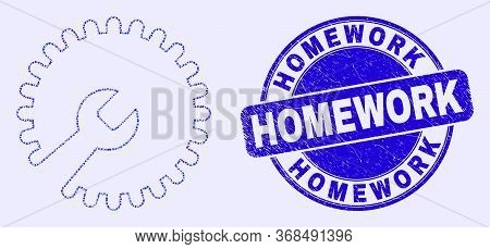 Geometric Repair Wrench Mosaic Icon And Homework Seal. Blue Vector Round Textured Seal Stamp With Ho