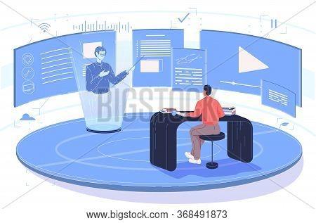 Steam Education Wireless Digital Technology Service. Smart Online Webinar Training. Man Sitting At T
