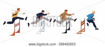 Confident Businessman Running Risk Jumping Over Gap Conquering Overcoming Obstacles. Hurdling Compet
