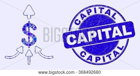 Geometric Payment Aggregator Mosaic Pictogram And Capital Seal Stamp. Blue Vector Round Scratched St