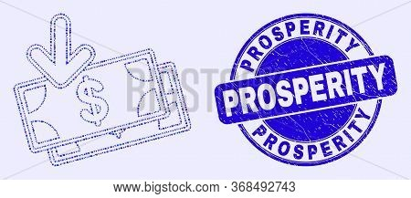 Geometric Income Banknotes Mosaic Pictogram And Prosperity Stamp. Blue Vector Round Grunge Seal Stam