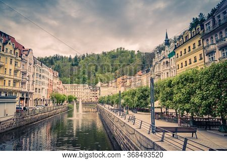 Karlovy Vary Carlsbad Historical City Centre, Central Embankment Of Tepla River With Fountains, Colo