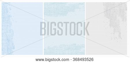 Grunge Torn Canvas Vector Layouts. Abstract Irregular Light Blue And Light Gray Worn Surface. Rough